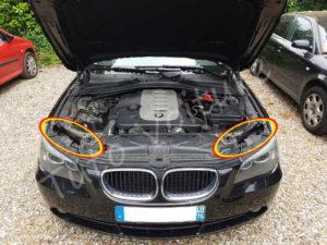 Emplacement des accès ampoules BMW E60 série 5 - Tutovoiture