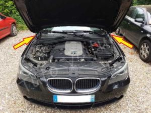 Position vérins capot moteur - BMW E60 - Tuto voiture