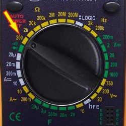 Multimètre position 200
