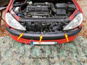 Fixation pare - choc avant - Peugeot 206cc - Tuto voiture