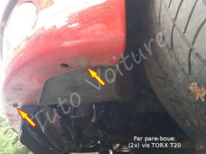 Fixation pare boue avant - Peugeot 206cc - Tuto voiture