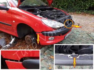 Dépose pare-choc avant - Peugeot 206cc -Tuto voiture