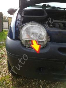 Dépose optique avant - Renault Twingo 1 phase 2 - Tutovoiture