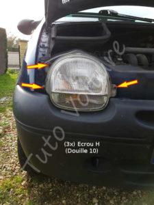 Fixation optique avant - Renault twingo 1 phase 2 - Tutovoiture