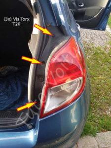 Fixation bloc feux arrière - Renault Clio 3 - Tutovoiture