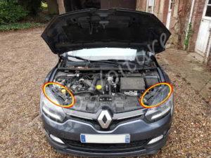 Emplacement des boîtes à ampoules avant - Renault Mégane 3 - Tutovoiture