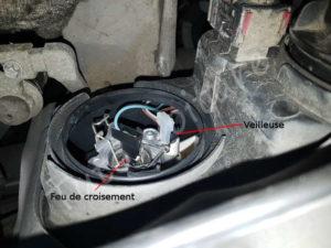 localiser ampoule feux de croisement et veilleuse - Opel Corsa C - Tuto voiture
