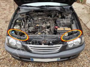 Emplacement des boîtes à ampoules avant - Toyota Avensis 1 - Tutovoiture