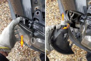 Enlever la connectique du clignotant avant - Toyota Avensis 1 - Tutovoiture