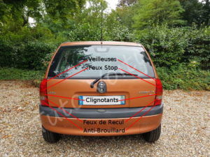Position ampoule feux optique arrière - Opel Corsa B - Tutovoiture