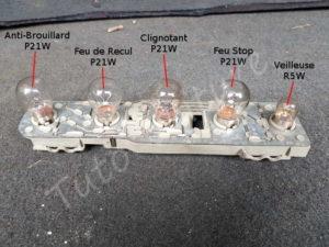 Emplacement des ampoules sur la platine - Opel Corsa B - Tutovoiture
