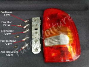 Rappel emplacement ampoules optique arrière - Opel Corsa B - Tutovoiture