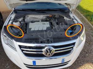 Emplacement des compartiments ampoule avant - Volkswagen Tiguan - Tutovotiure