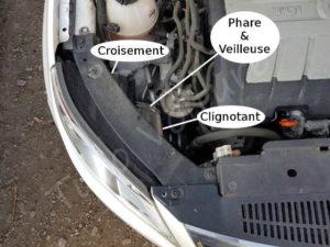 Emplacement des accès ampoules avant - Volkswagen Tiguan - Tutovoiture