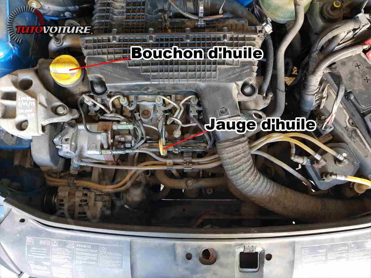 bouchon et jauge d'huile - Renault Clio 2