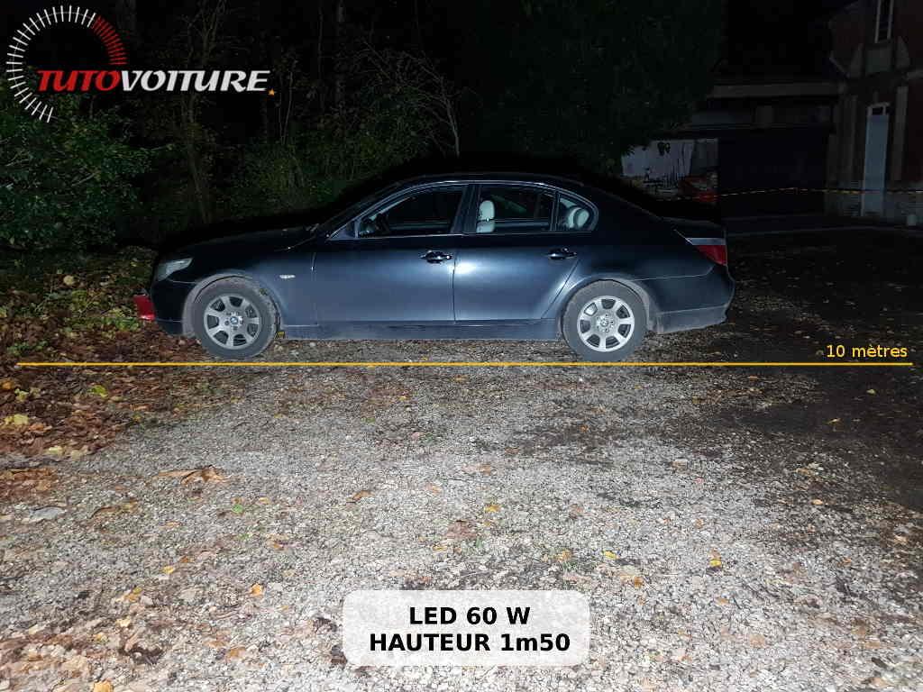 test de luminosité d'une lampe de chantier LED 60W