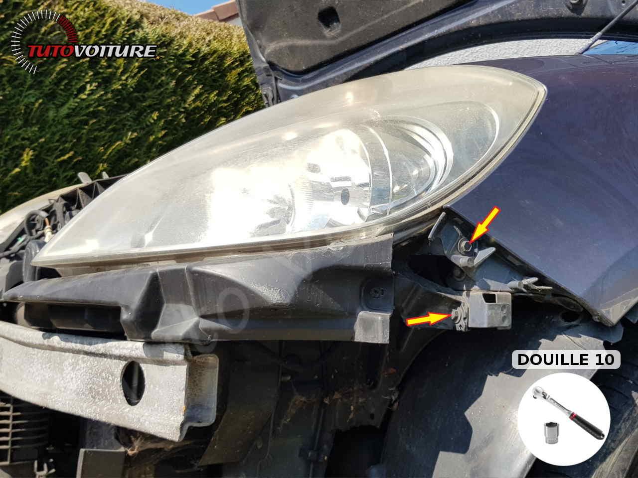Vis du phare avant Renault Clio 3