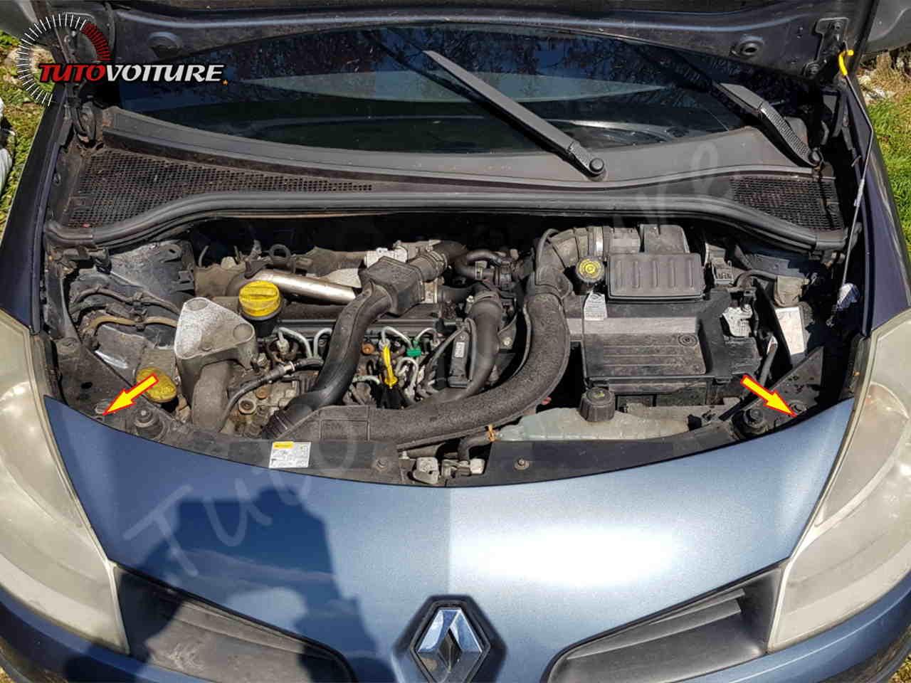 Ou sont les fixations du pare-chocs avant Renault Clio 3