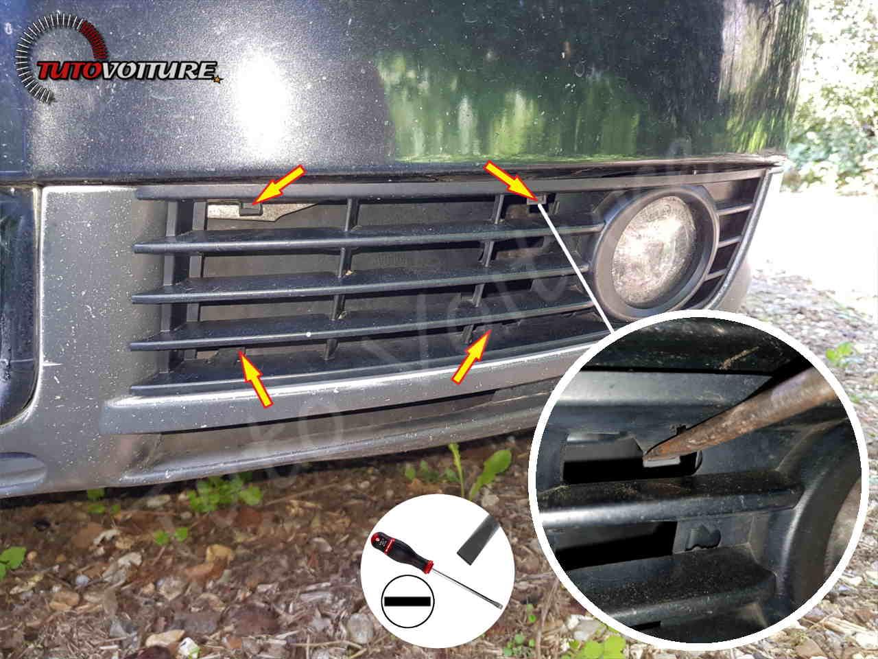 Extirper la grille avant AUDI A4 B6