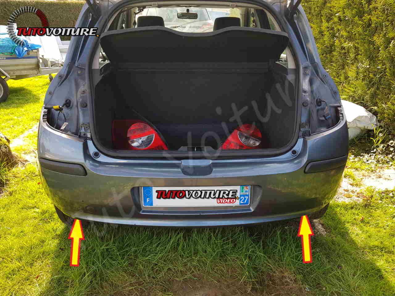 Trouver les fixations de pare-chocs arrière Renault Clio 3
