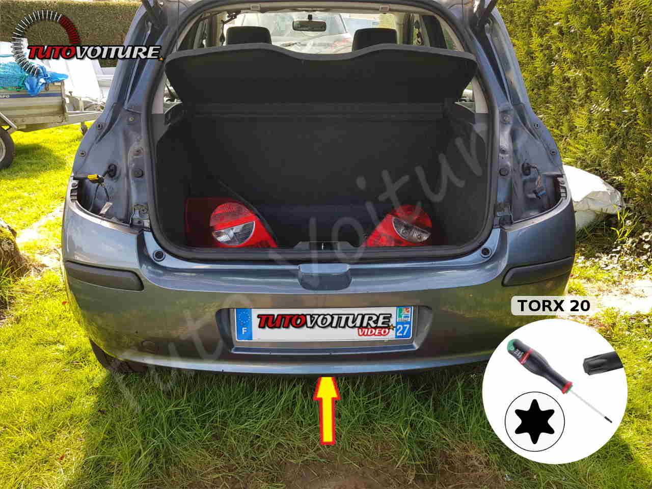 Vis centrale du pare-chocs arrière Renault Clio 3