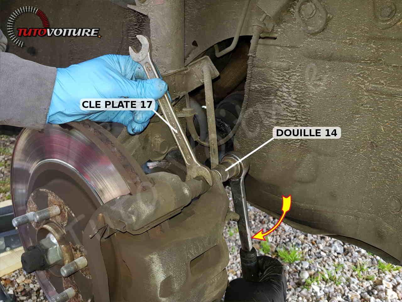 Taille des clés et douilles pour l'étrier de frein avant Renault Koleos