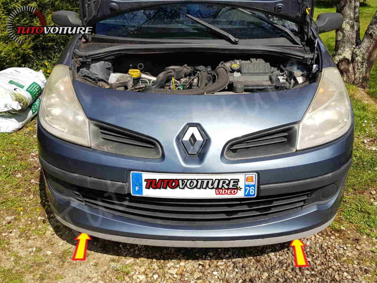 Où sont les vis du pare-chocs avant Renault Clio 3