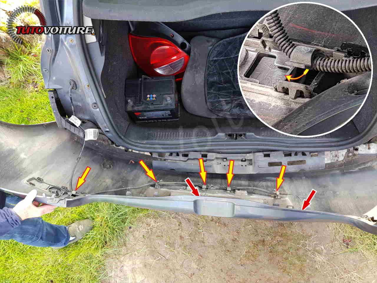 Attache du faisceau de lumière de plaque Renault Clio 3
