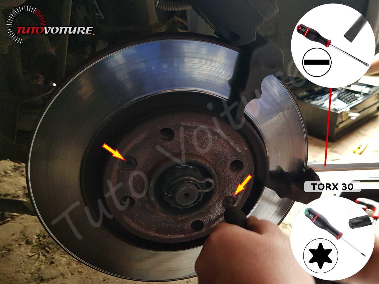 Retirer les vis de disques de frein peugeot 206